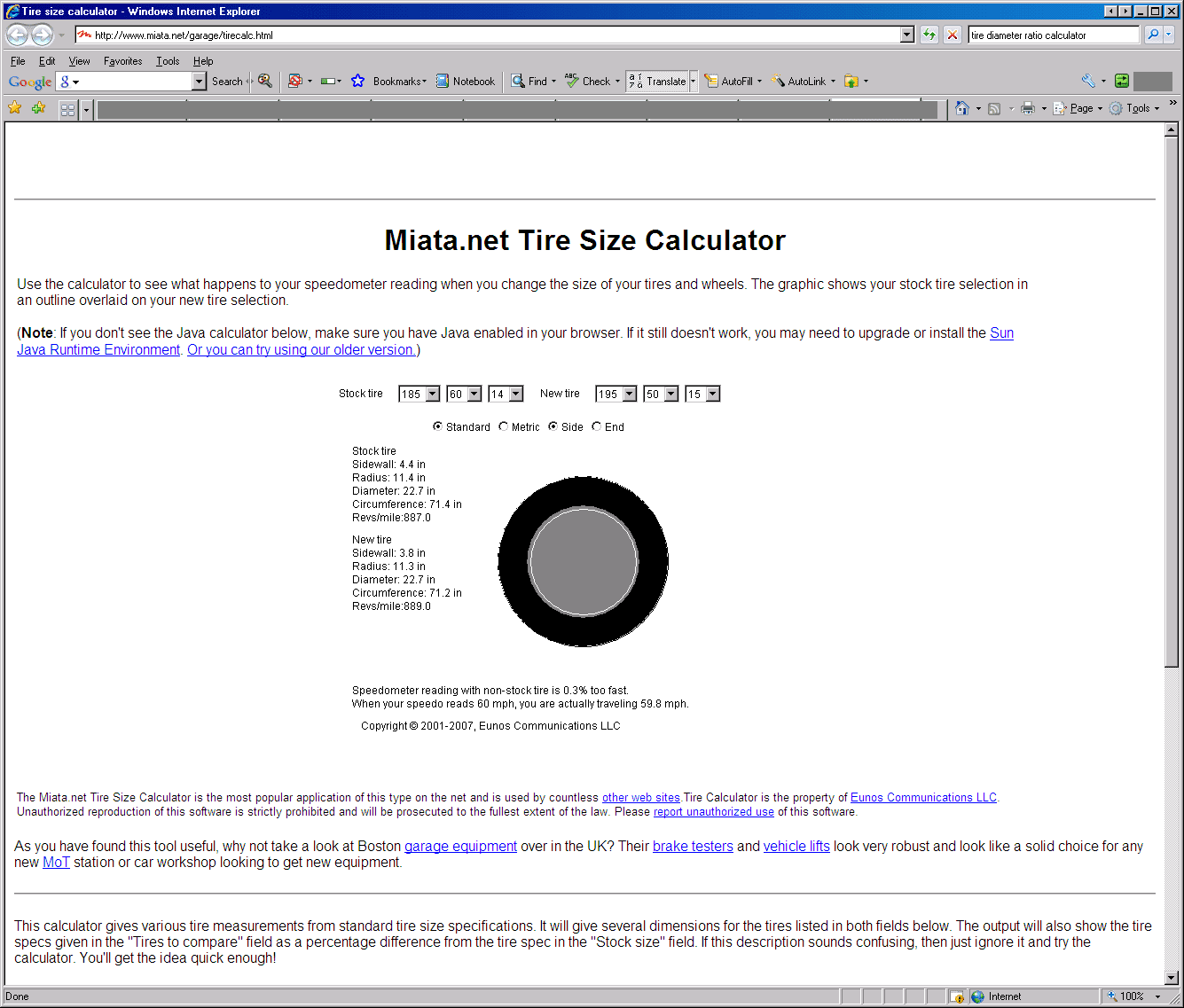 Tire Size Equivalent Tire Size Calculator